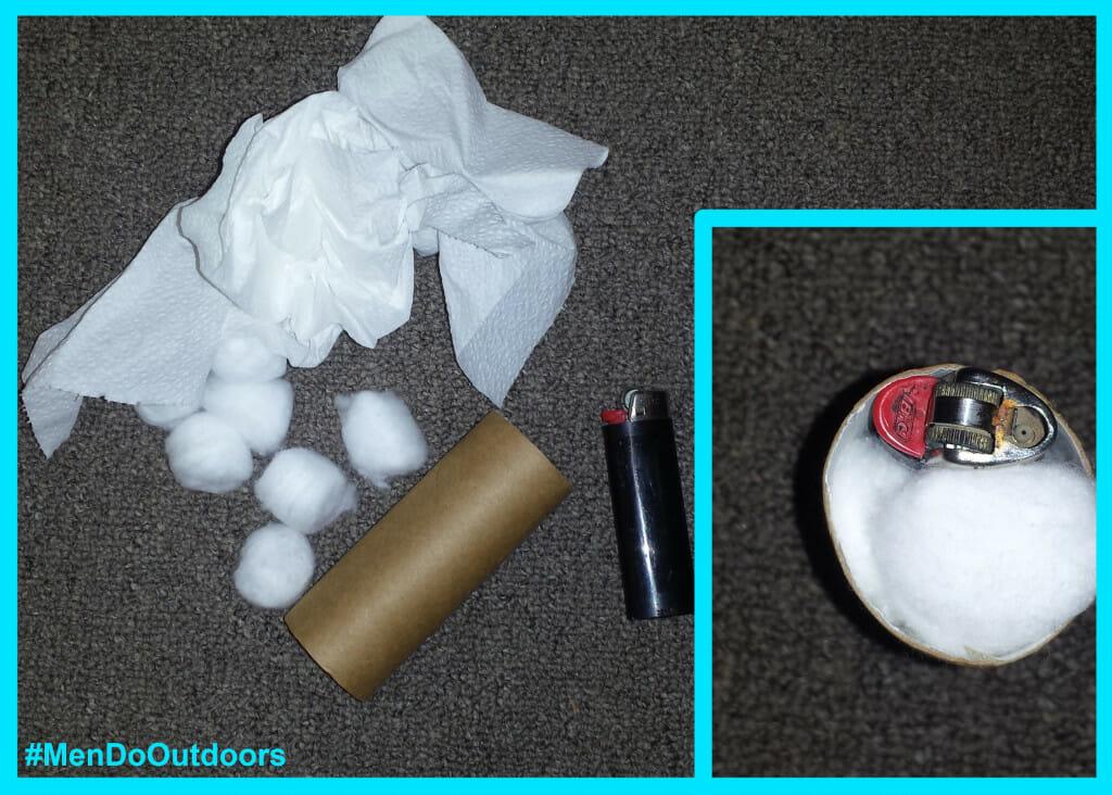 Toiler paper roll fire starter kit