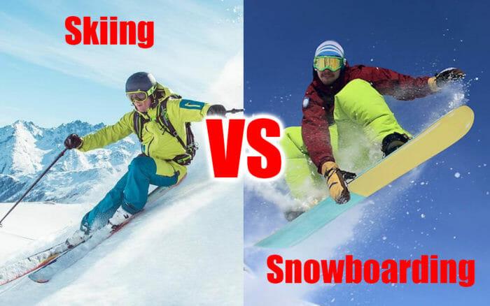 skiing vs snowboarding