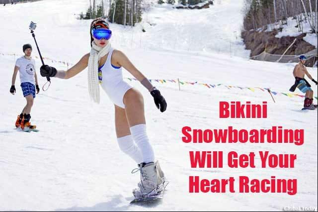 bikini snowboarding
